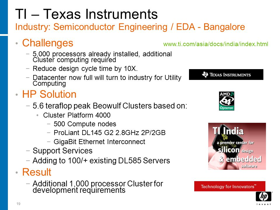 19 TI – Texas Instruments Industry: Semiconductor Engineering / EDA - Bangalore Challenges −5,000 processors already installed, additional Cluster com