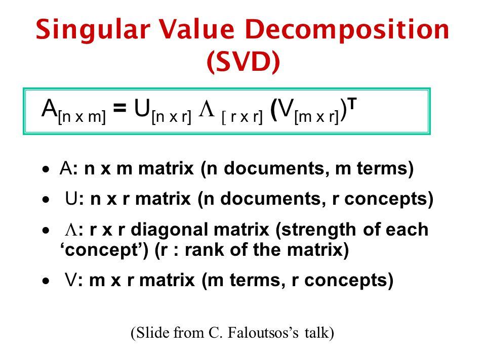 Singular Value Decomposition (SVD) A [n x m] = U [n x r]   r x r] (V [m x r] ) T  A: n x m matrix (n documents, m terms)  U: n x r matrix (n documents, r concepts)   : r x r diagonal matrix (strength of each 'concept') (r : rank of the matrix)  V: m x r matrix (m terms, r concepts) (Slide from C.