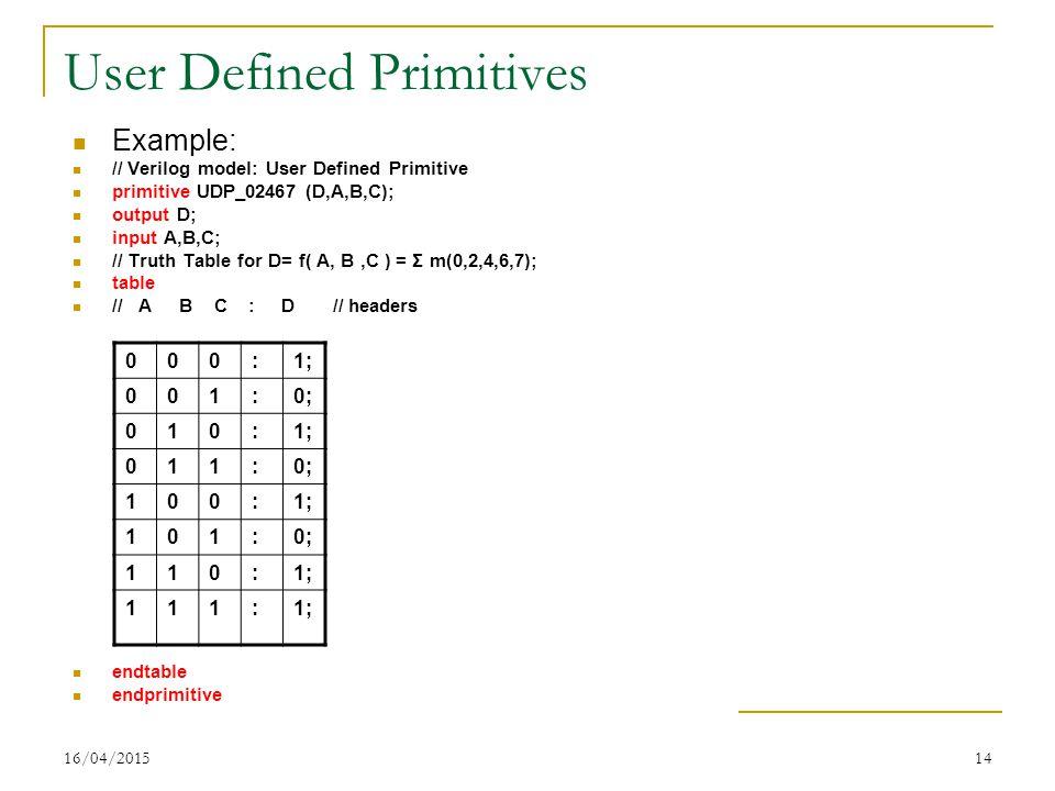 16/04/201514 User Defined Primitives Example: // Verilog model: User Defined Primitive primitive UDP_02467 (D,A,B,C); output D; input A,B,C; // Truth Table for D= f( A, B,C ) = Σ m(0,2,4,6,7); table // A B C : D // headers endtable endprimitive 000:1; 001:0; 010:1; 011:0; 100:1; 101:0; 110:1; 111: