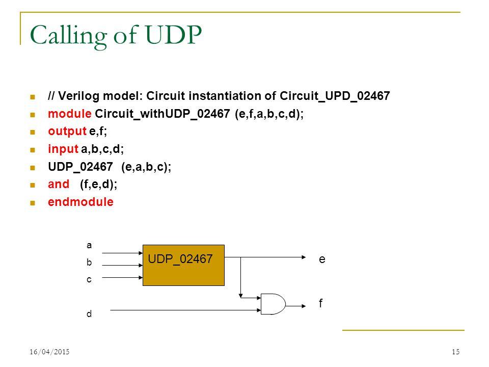16/04/201515 Calling of UDP // Verilog model: Circuit instantiation of Circuit_UPD_02467 module Circuit_withUDP_02467 (e,f,a,b,c,d); output e,f; input a,b,c,d; UDP_02467 (e,a,b,c); and (f,e,d); endmodule UDP_02467 abcdabcd efef
