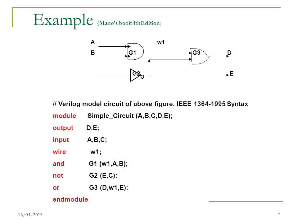 16/04/20157 Example (Mano's book 4thEdition ) A w1 B G1 G3 D G2 E // Verilog model circuit of above figure.