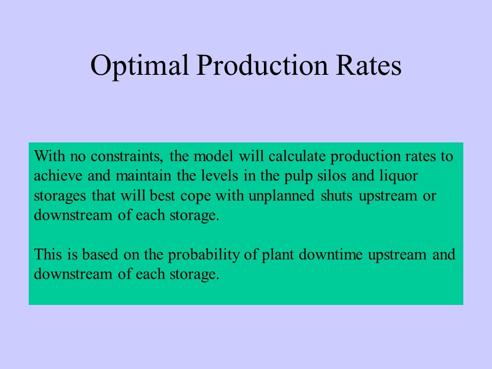 With no constraints, the model will calculate production rates to achieve and maintain the levels in the pulp silos and liquor storages that will best cope with unplanned shuts upstream or downstream of each storage.
