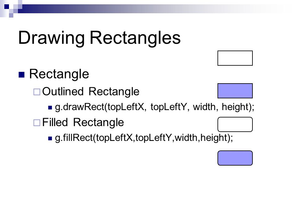 Drawing Rectangles Rectangle  Outlined Rectangle g.drawRect(topLeftX, topLeftY, width, height);  Filled Rectangle g.fillRect(topLeftX,topLeftY,width,height);