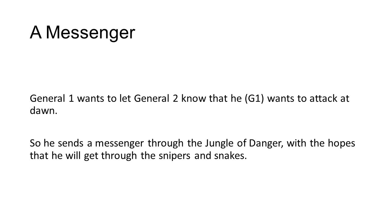 A Messenger General 1 wants to let General 2 know that he (G1) wants to attack at dawn.