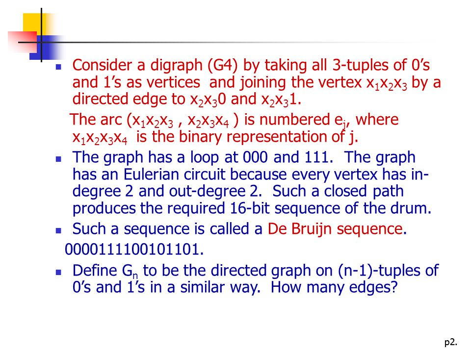 p2. Consider a digraph (G4) by taking all 3-tuples of 0's and 1's as vertices and joining the vertex x 1 x 2 x 3 by a directed edge to x 2 x 3 0 and x
