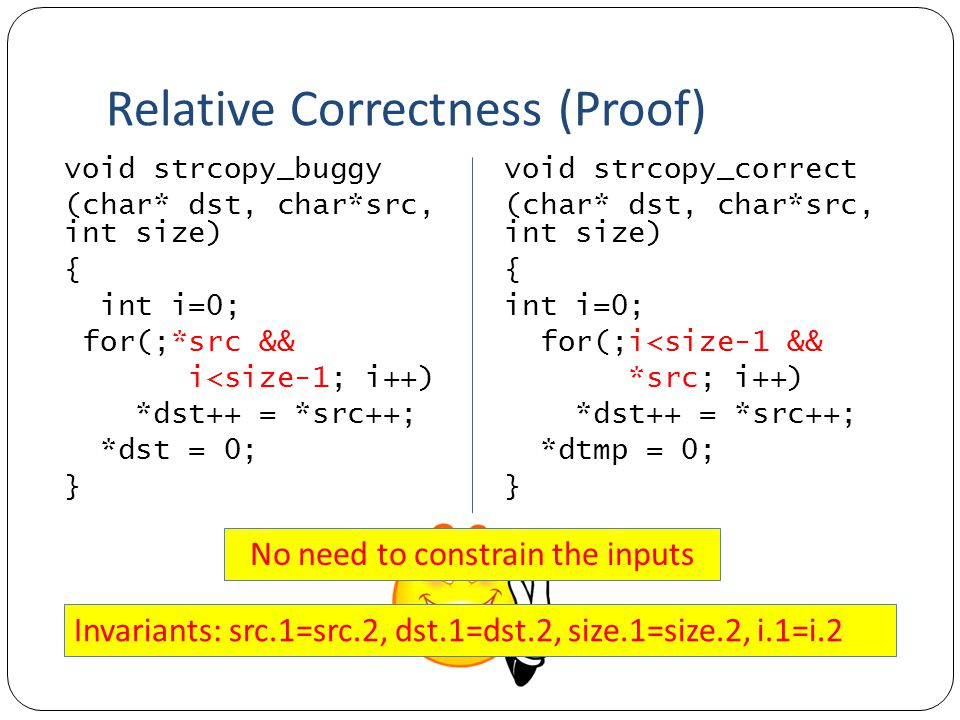 Relative Correctness (Proof) void strcopy_correct (char* dst, char*src, int size) { int i=0; for(;i<size-1 && *src; i++) *dst++ = *src++; *dtmp = 0; } void strcopy_buggy (char* dst, char*src, int size) { int i=0; for(;*src && i<size-1; i++) *dst++ = *src++; *dst = 0; } No need to constrain the inputs Invariants: src.1=src.2, dst.1=dst.2, size.1=size.2, i.1=i.2
