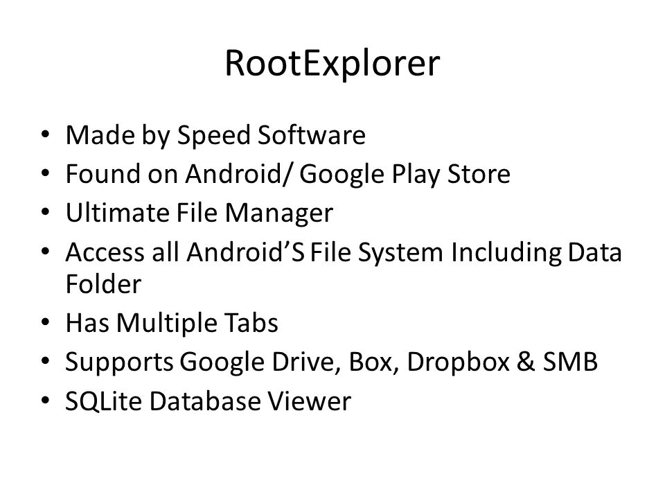 RootExplorer Made by Speed Software Found on Android/ Google Play Store Ultimate File Manager Access all Android'S File System Including Data Folder H