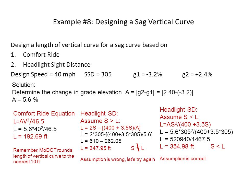 Example #8: Designing a Sag Vertical Curve Design a length of vertical curve for a sag curve based on 1.Comfort Ride 2.Headlight Sight Distance Design