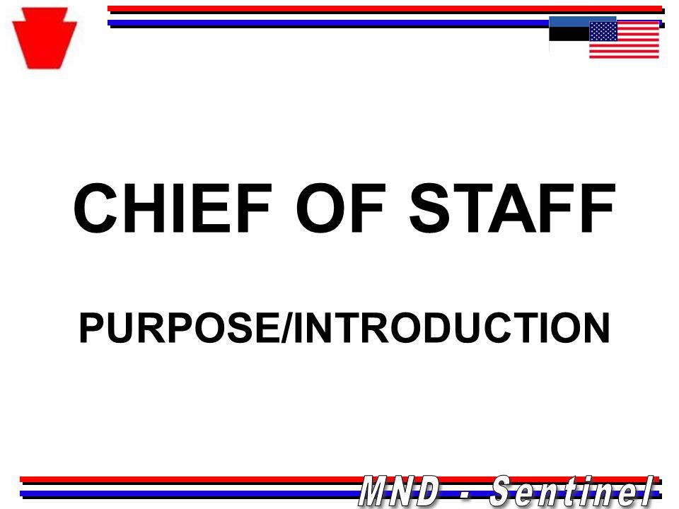 CHIEF OF STAFF PURPOSE/INTRODUCTION