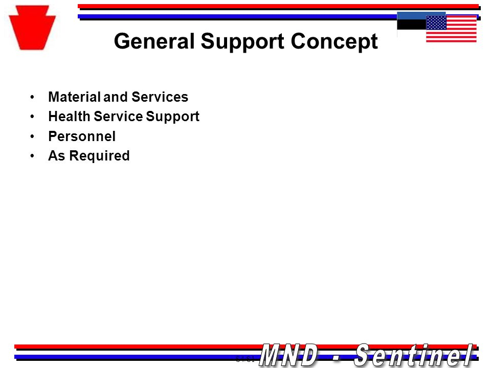 General Support Concept Material and Services Health Service Support Personnel As Required S4/S1