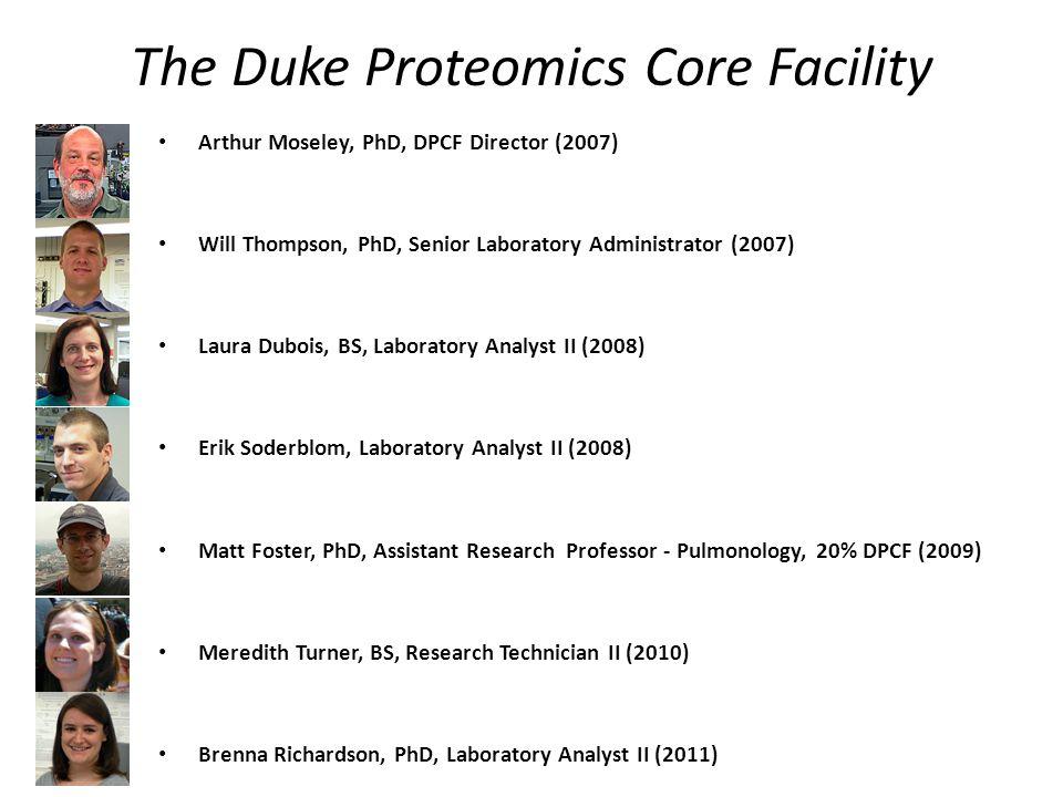 Arthur Moseley, PhD, DPCF Director (2007) Will Thompson, PhD, Senior Laboratory Administrator (2007) Laura Dubois, BS, Laboratory Analyst II (2008) Erik Soderblom, Laboratory Analyst II (2008) Matt Foster, PhD, Assistant Research Professor - Pulmonology, 20% DPCF (2009) Meredith Turner, BS, Research Technician II (2010) Brenna Richardson, PhD, Laboratory Analyst II (2011) The Duke Proteomics Core Facility