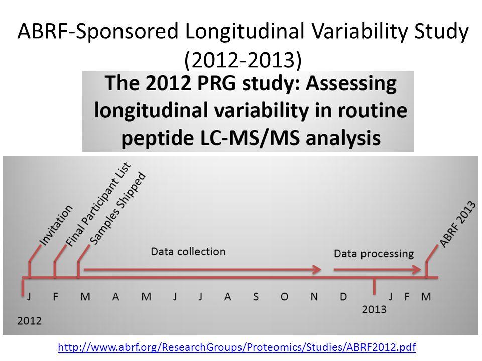 ABRF-Sponsored Longitudinal Variability Study (2012-2013) http://www.abrf.org/ResearchGroups/Proteomics/Studies/ABRF2012.pdf