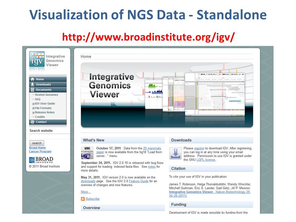 Visualization of NGS Data – Web Site http://gmod.org/wiki/GBrowse_NGS_Tutorial