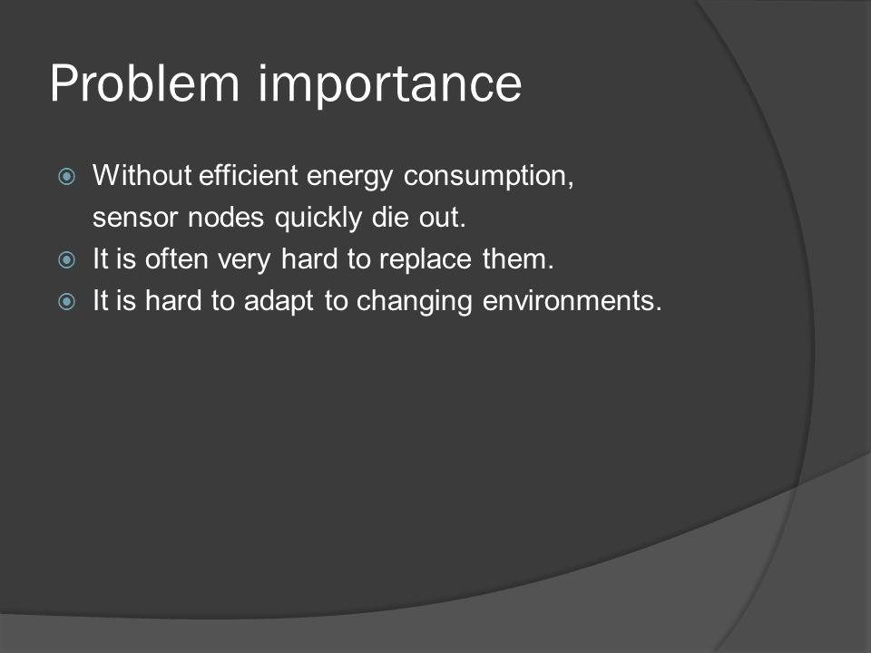 Problem importance  Without efficient energy consumption, sensor nodes quickly die out.
