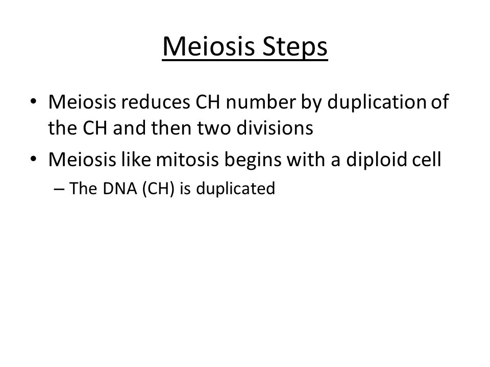 Meiosis Steps Meiosis reduces CH number by duplication of the CH and then two divisions Meiosis like mitosis begins with a diploid cell – The DNA (CH) is duplicated