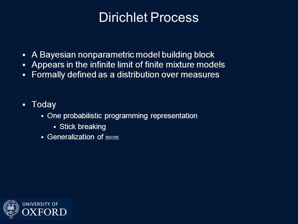 Review : Finite Mixture Model Dirichlet process mixture model arises as infinite class cardinality limit Uses Clustering Density estimation
