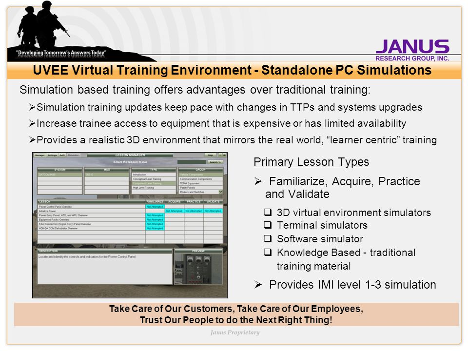 Take Care of Our Customers, Take Care of Our Employees, Trust Our People to do the Next Right Thing! UVEE Virtual Training Environment - Standalone PC