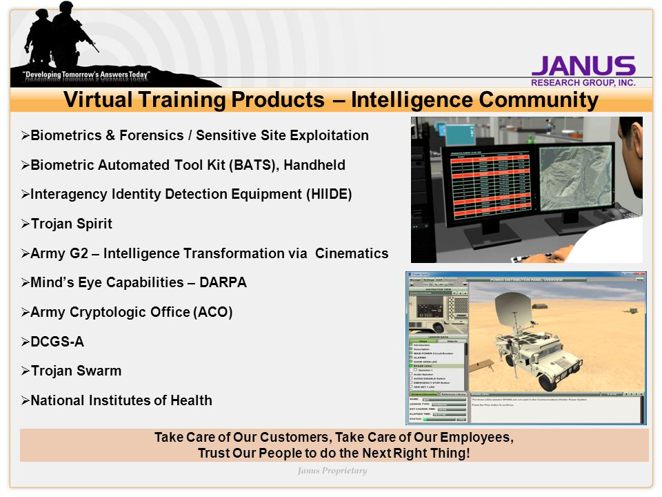 Take Care of Our Customers, Take Care of Our Employees, Trust Our People to do the Next Right Thing! Virtual Training Products – Intelligence Communit