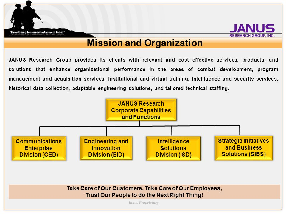 Take Care of Our Customers, Take Care of Our Employees, Trust Our People to do the Next Right Thing! Mission and Organization JANUS Research Group pro