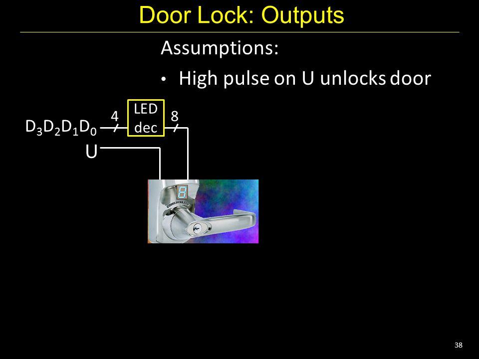 38 Door Lock: Outputs Assumptions: High pulse on U unlocks door U D3D2D1D0D3D2D1D0 4 LED dec 8