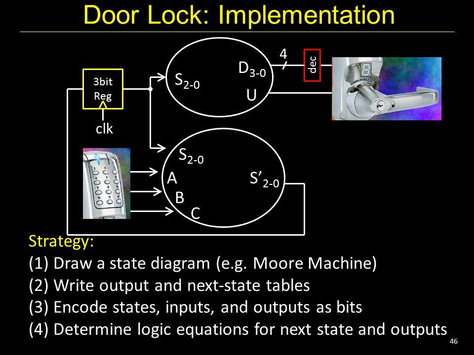 46 Door Lock: Implementation 4 dec 3bit Reg clk U D 3-0 S 2-0 S' 2-0 S 2-0 A B C Strategy: (1) Draw a state diagram (e.g. Moore Machine) (2) Write out