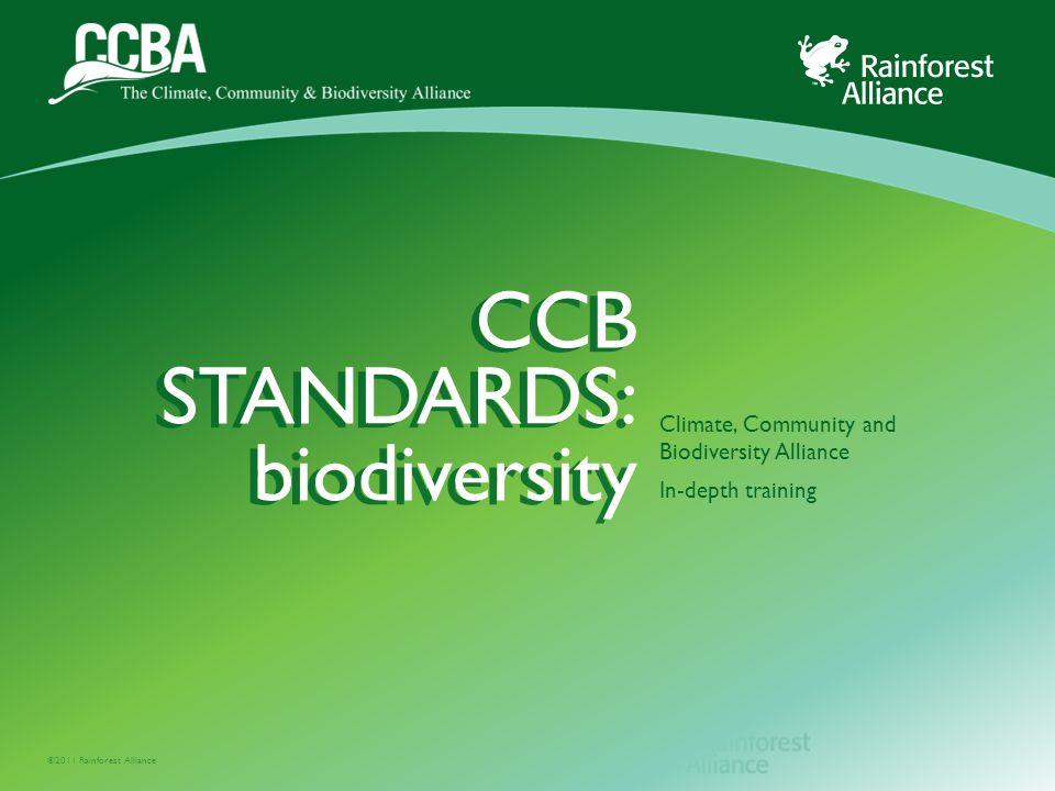 ©2011 Rainforest Alliance CCB STANDARDS: biodiversity Climate, Community and Biodiversity Alliance In-depth training