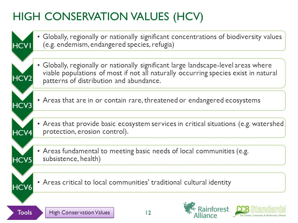 HIGH CONSERVATION VALUES (HCV) 12 HCV1 Globally, regionally or nationally significant concentrations of biodiversity values (e.g.
