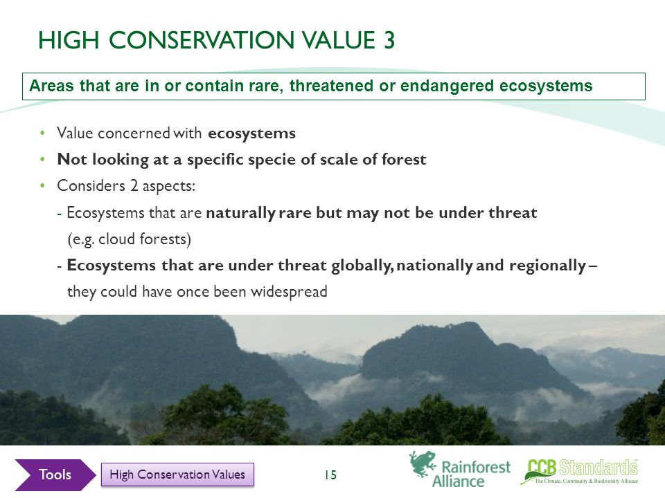 Value concerned with ecosystems Not looking at a specific specie of scale of forest Considers 2 aspects: - Ecosystems that are naturally rare but may not be under threat (e.g.