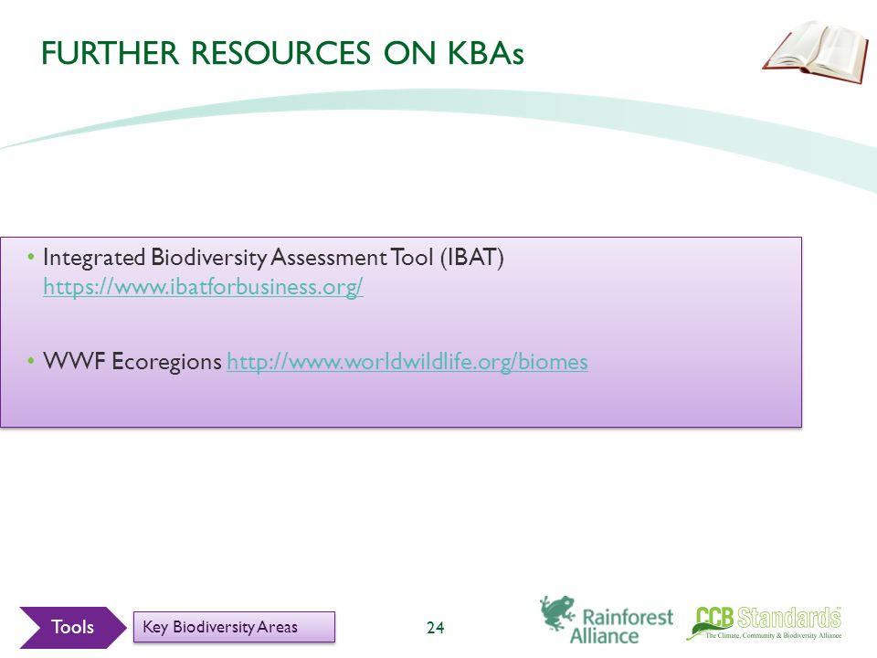 FURTHER RESOURCES ON KBAs Integrated Biodiversity Assessment Tool (IBAT) https://www.ibatforbusiness.org/ https://www.ibatforbusiness.org/ WWF Ecoregions http://www.worldwildlife.org/biomeshttp://www.worldwildlife.org/biomes Integrated Biodiversity Assessment Tool (IBAT) https://www.ibatforbusiness.org/ https://www.ibatforbusiness.org/ WWF Ecoregions http://www.worldwildlife.org/biomeshttp://www.worldwildlife.org/biomes 24 Tools Key Biodiversity Areas