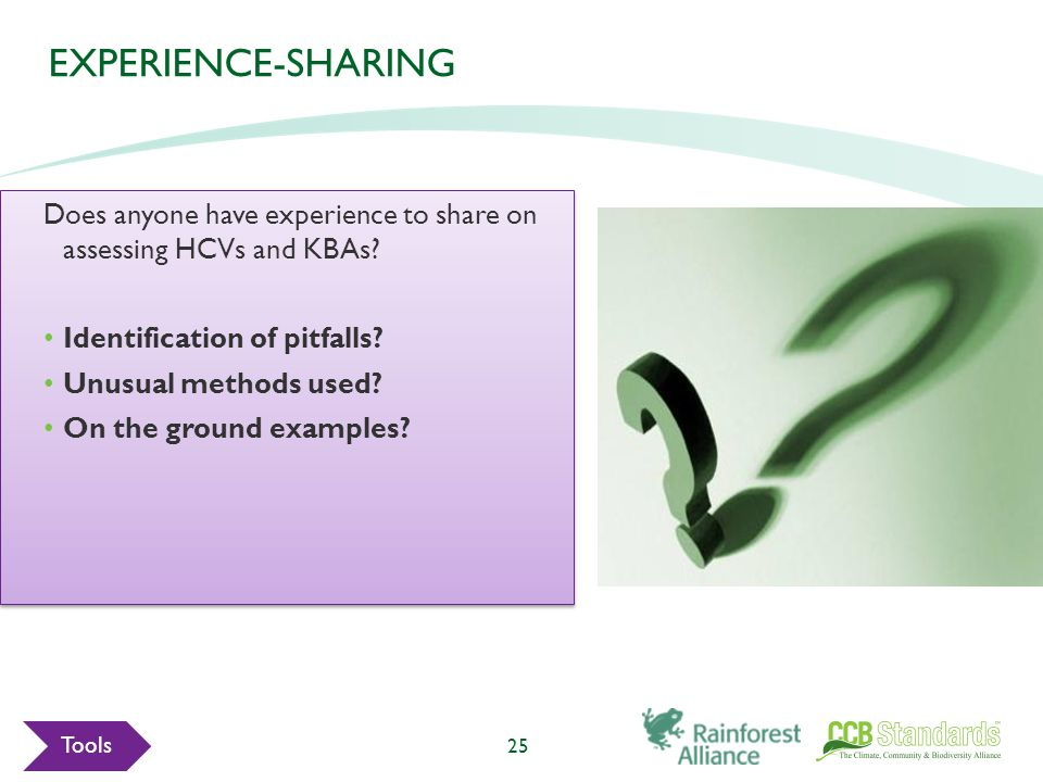 EXPERIENCE-SHARING Does anyone have experience to share on assessing HCVs and KBAs.