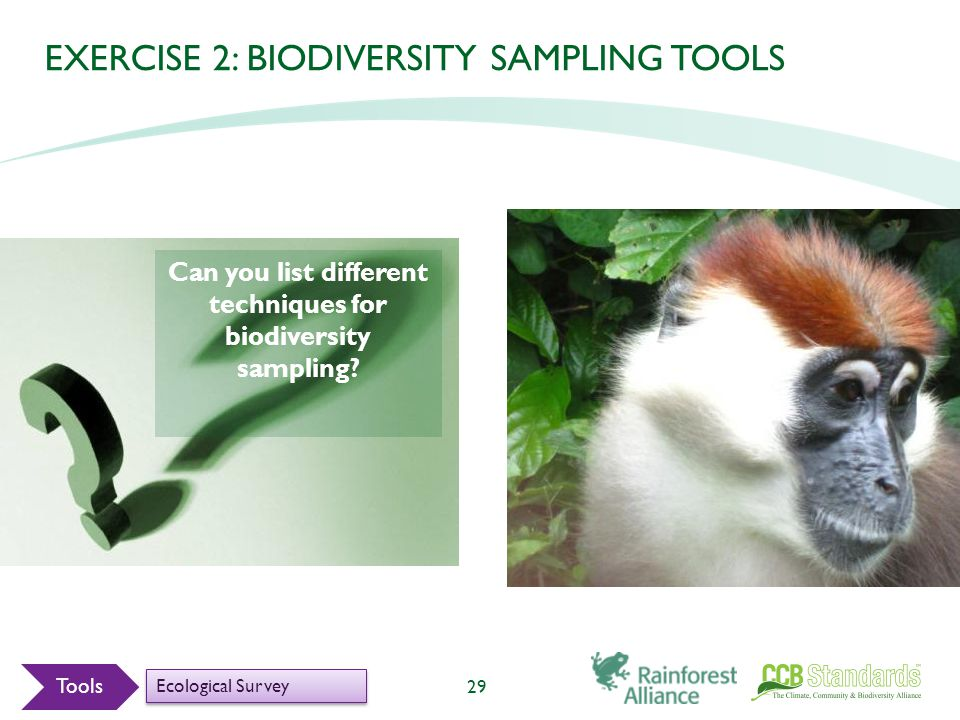 EXERCISE 2: BIODIVERSITY SAMPLING TOOLS Can you list different techniques for biodiversity sampling.