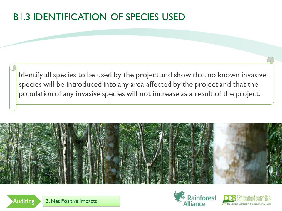 Identify all species to be used by the project and show that no known invasive species will be introduced into any area affected by the project and that the population of any invasive species will not increase as a result of the project.