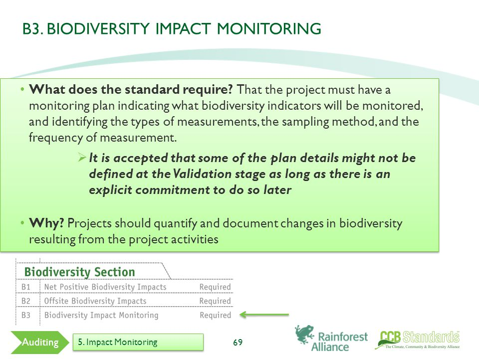 B3. BIODIVERSITY IMPACT MONITORING 69 Auditing 5. Impact Monitoring What does the standard require? That the project must have a monitoring plan indic