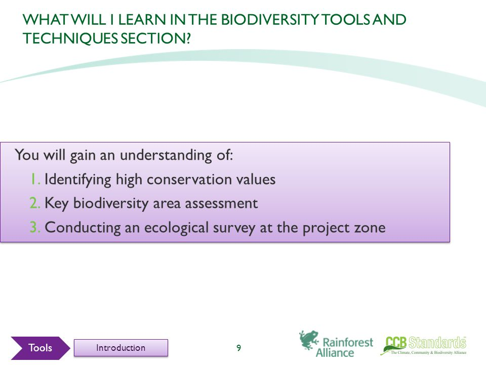WHAT WILL I LEARN IN THE BIODIVERSITY TOOLS AND TECHNIQUES SECTION.