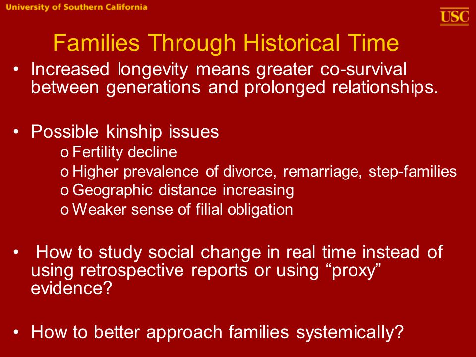 Families Through Historical Time Increased longevity means greater co-survival between generations and prolonged relationships.
