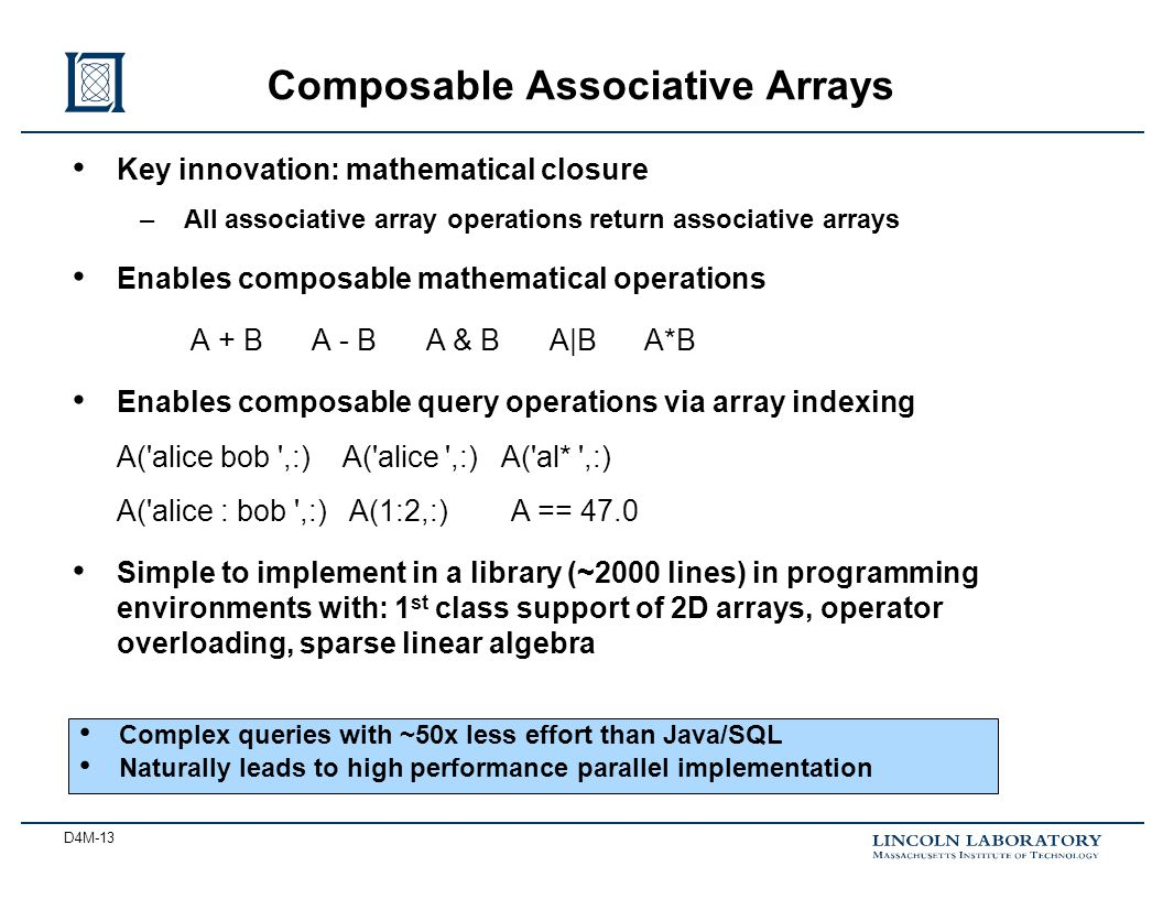 D4M-13 Key innovation: mathematical closure –All associative array operations return associative arrays Enables composable mathematical operations A + B A - B A & B A|B A*B Enables composable query operations via array indexing A( alice bob ,:) A( alice ,:) A( al* ,:) A( alice : bob ,:) A(1:2,:) A == 47.0 Simple to implement in a library (~2000 lines) in programming environments with: 1 st class support of 2D arrays, operator overloading, sparse linear algebra Composable Associative Arrays Complex queries with ~50x less effort than Java/SQL Naturally leads to high performance parallel implementation