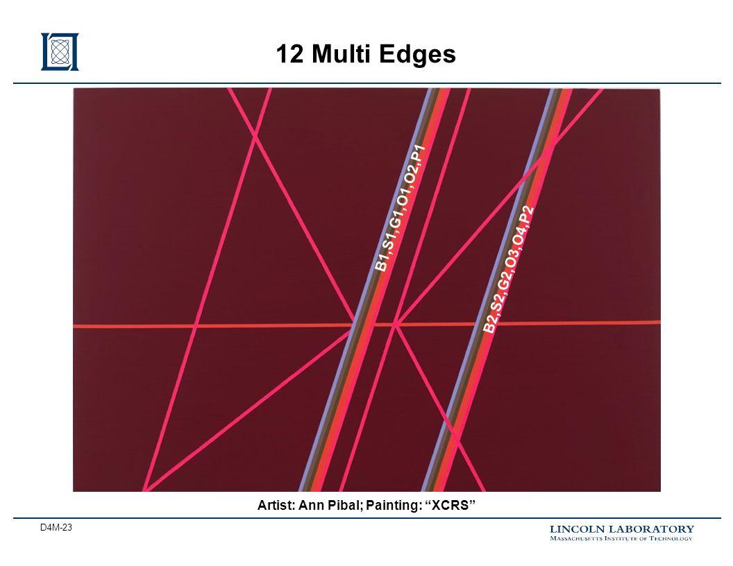 D4M-23 12 Multi Edges Artist: Ann Pibal; Painting: XCRS B1,S1,G1,O1,O2,P1 B2,S2,G2,O3,O4,P2