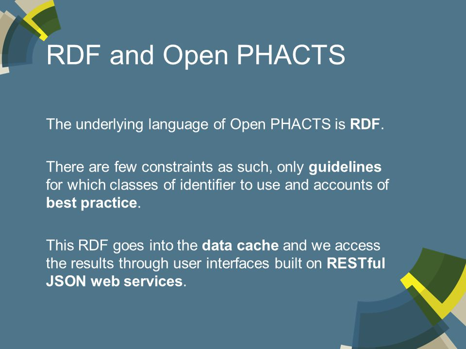 RDF and Open PHACTS The underlying language of Open PHACTS is RDF.
