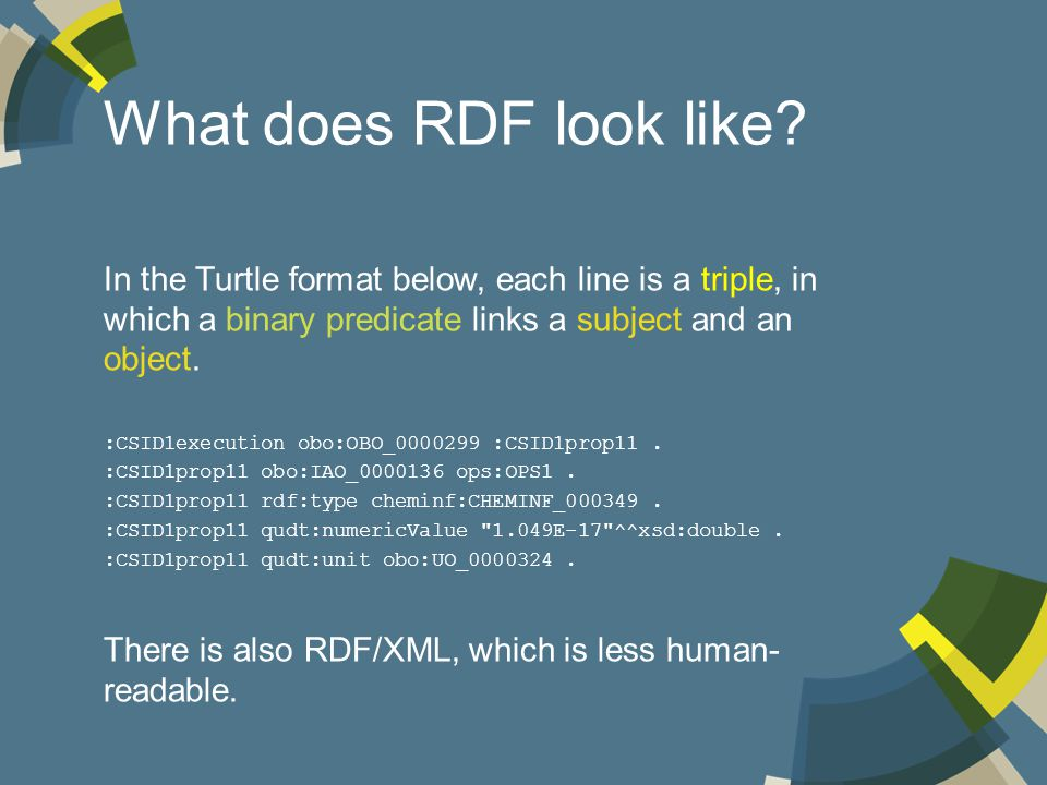 What does RDF look like.
