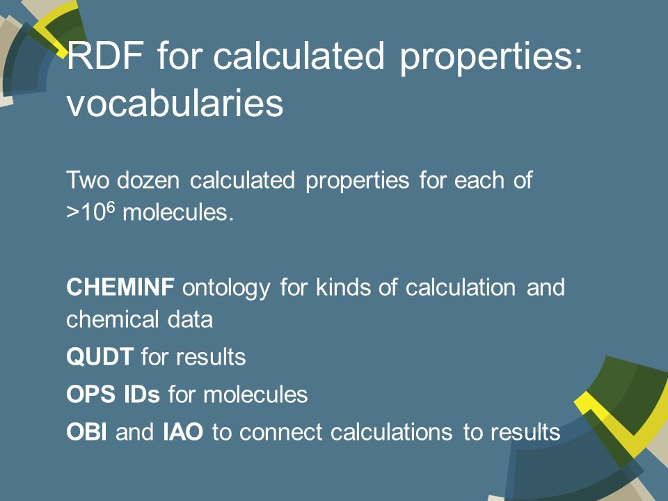 RDF for calculated properties: vocabularies Two dozen calculated properties for each of >10 6 molecules.