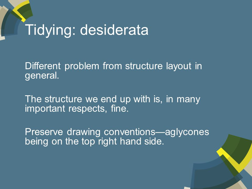 Tidying: desiderata Different problem from structure layout in general.