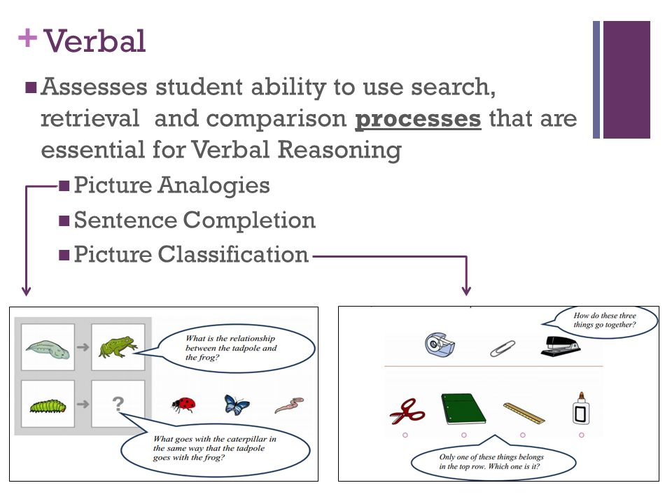 + Verbal Assesses student ability to use search, retrieval and comparison processes that are essential for Verbal Reasoning Picture Analogies Sentence Completion Picture Classification