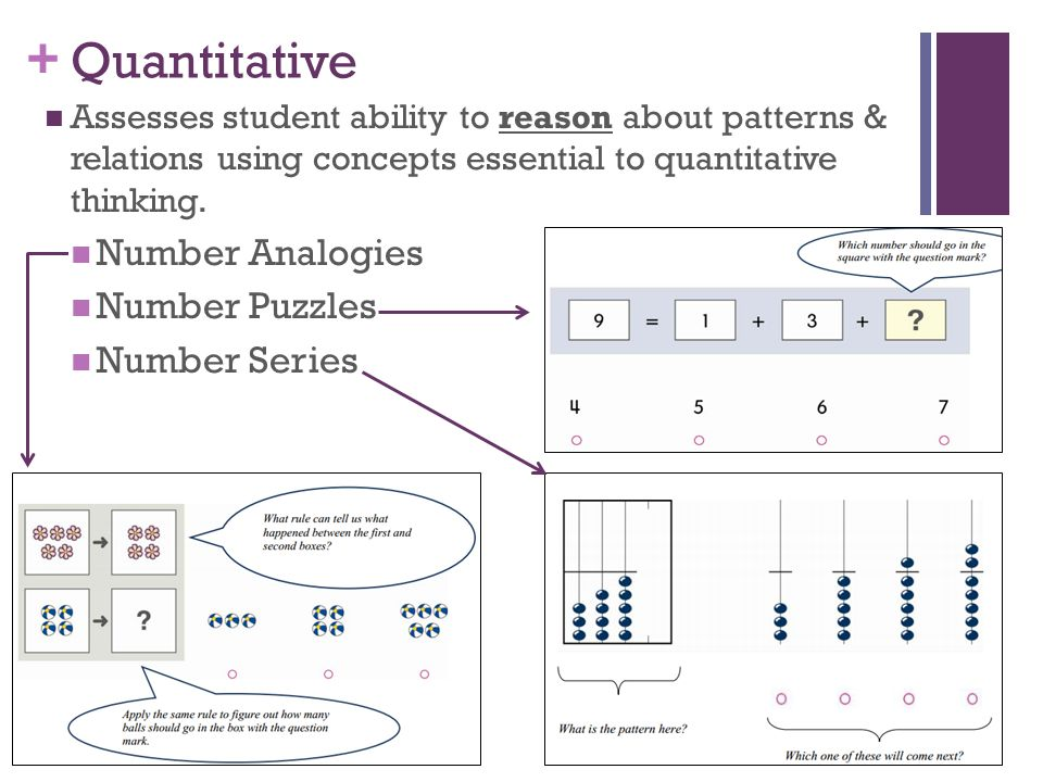 + Quantitative Assesses student ability to reason about patterns & relations using concepts essential to quantitative thinking.