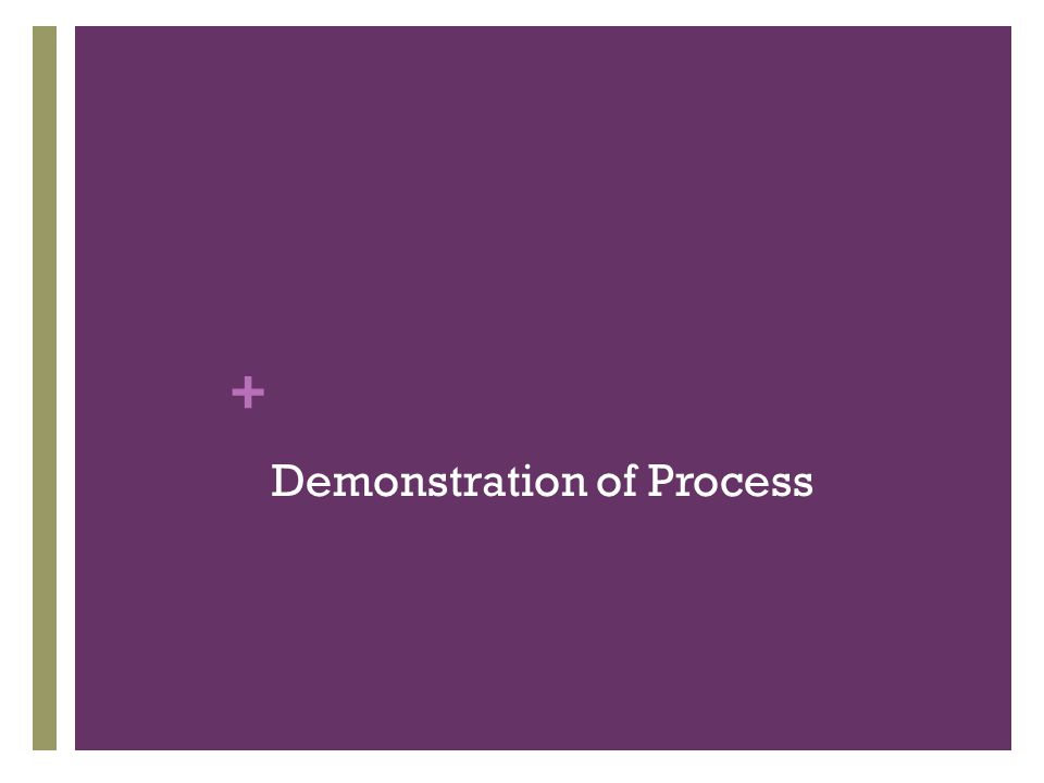 + Demonstration of Process