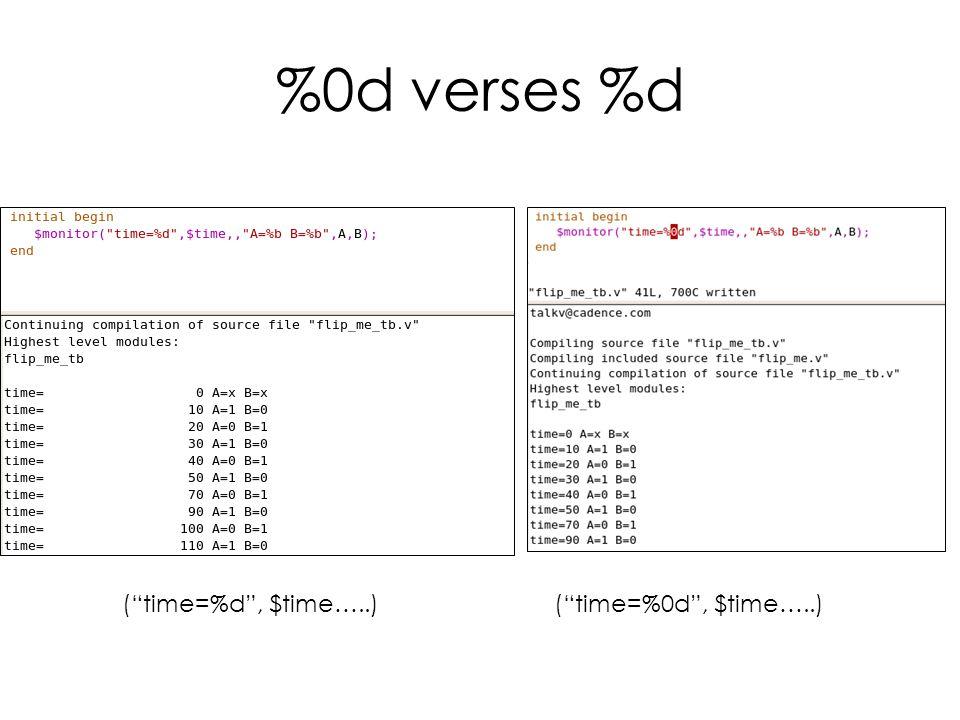 %0d verses %d ( time=%d , $time…..)( time=%0d , $time…..)