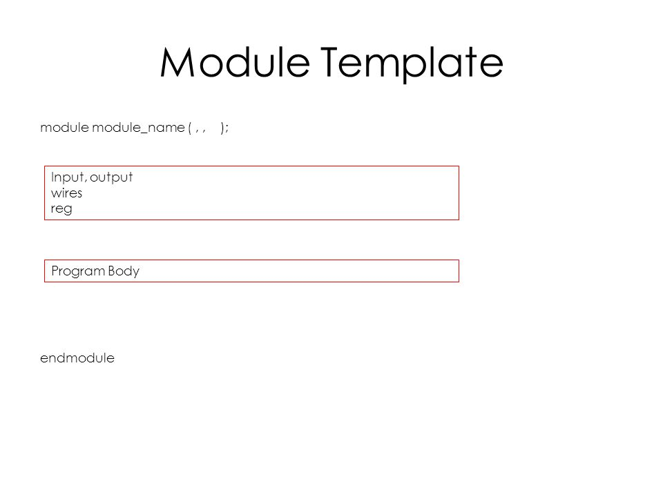 Module Template module module_name (,, ); endmodule Input, output wires reg Program Body