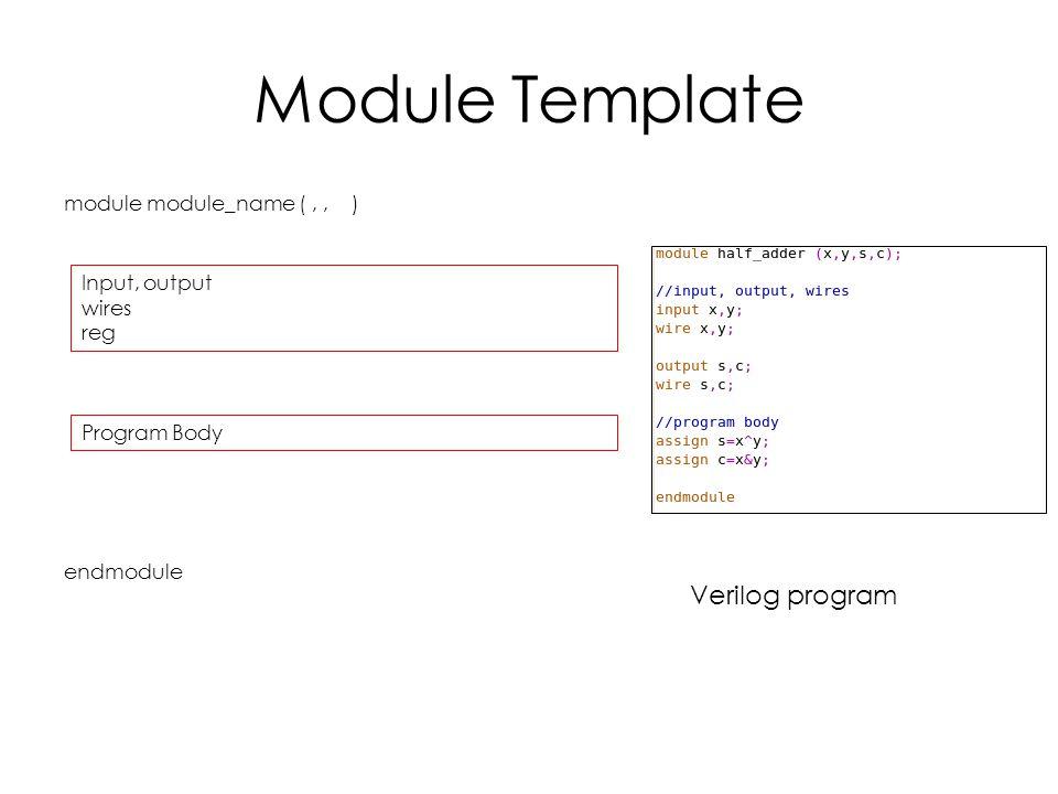Module Template module module_name (,, ) endmodule Input, output wires reg Program Body Verilog program