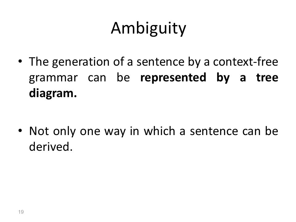 Ambiguity The generation of a sentence by a context-free grammar can be represented by a tree diagram.