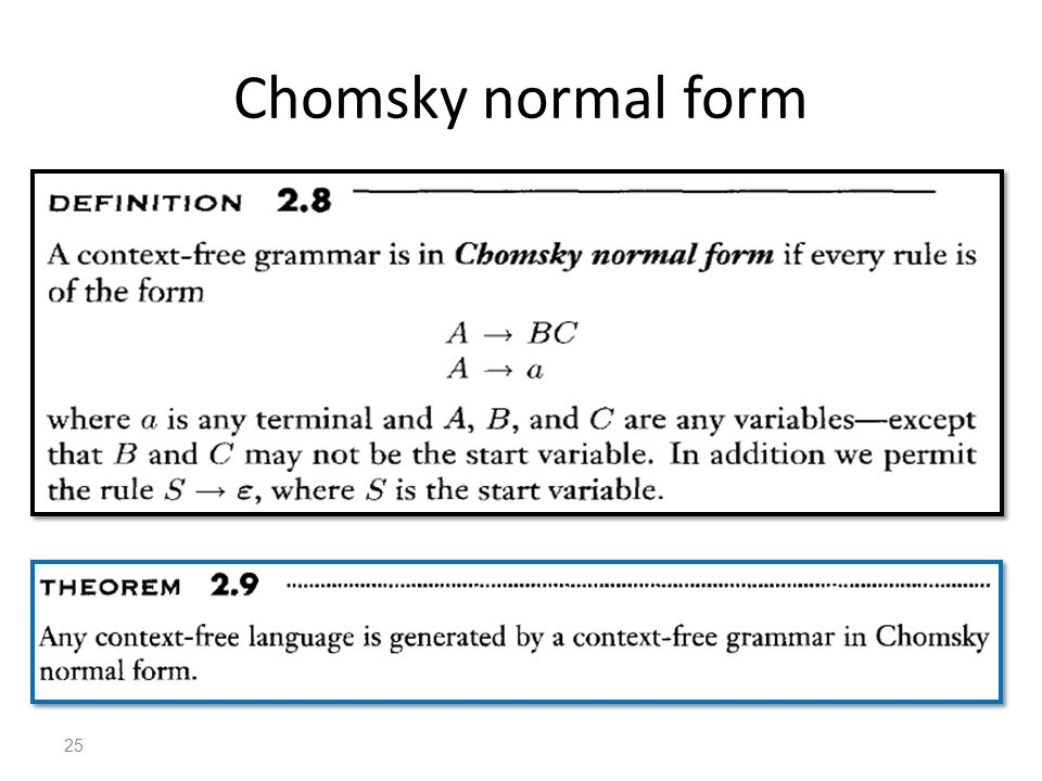 Chomsky normal form 25