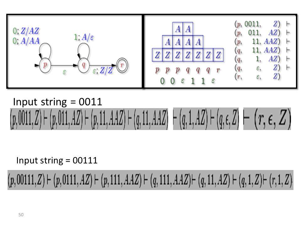 50 Input string = 0011 Input string = 00111